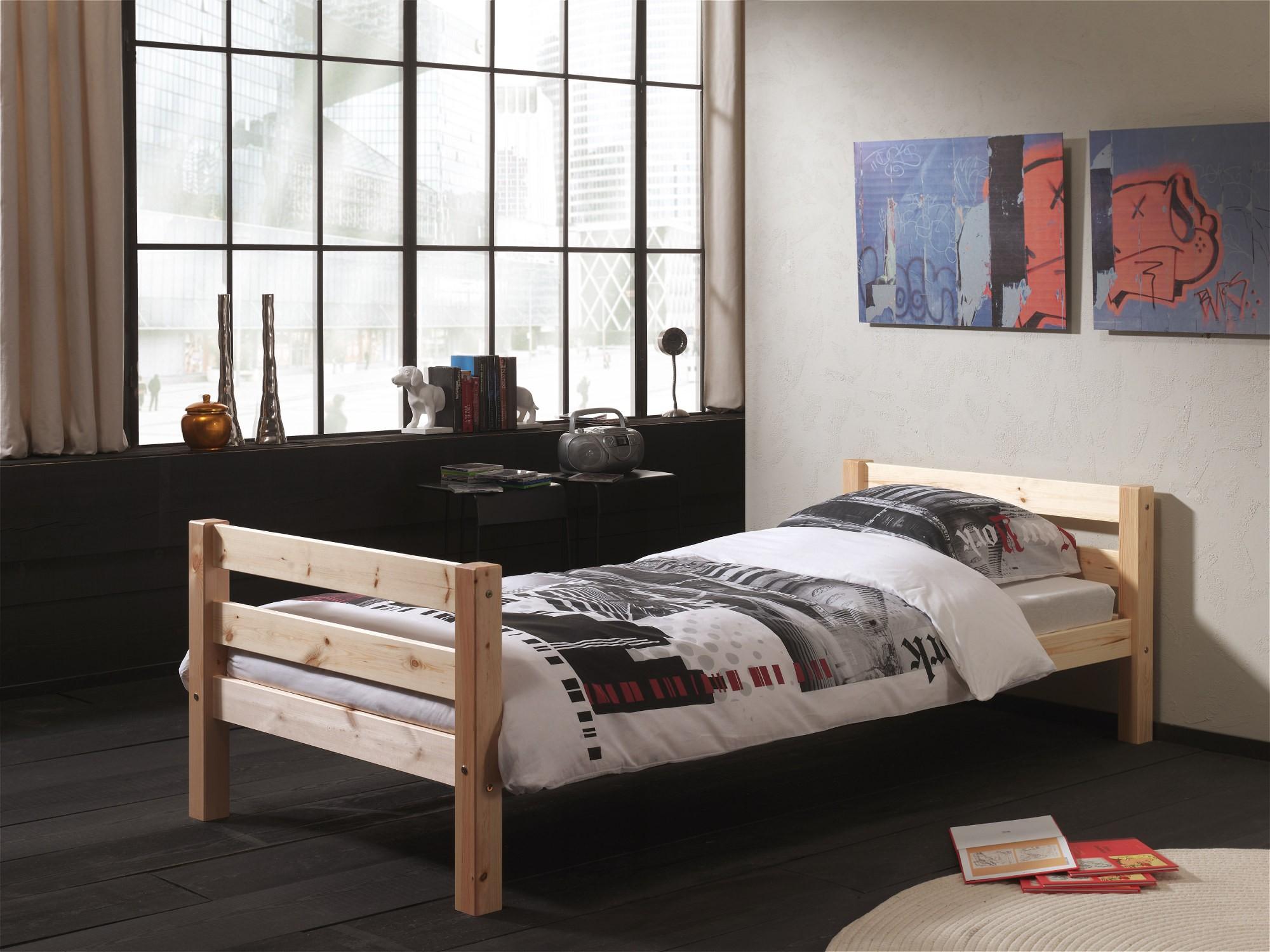 einzelbett pino liegefl che 90 x 200 cm kiefer massiv kinder jugendzimmer betten. Black Bedroom Furniture Sets. Home Design Ideas