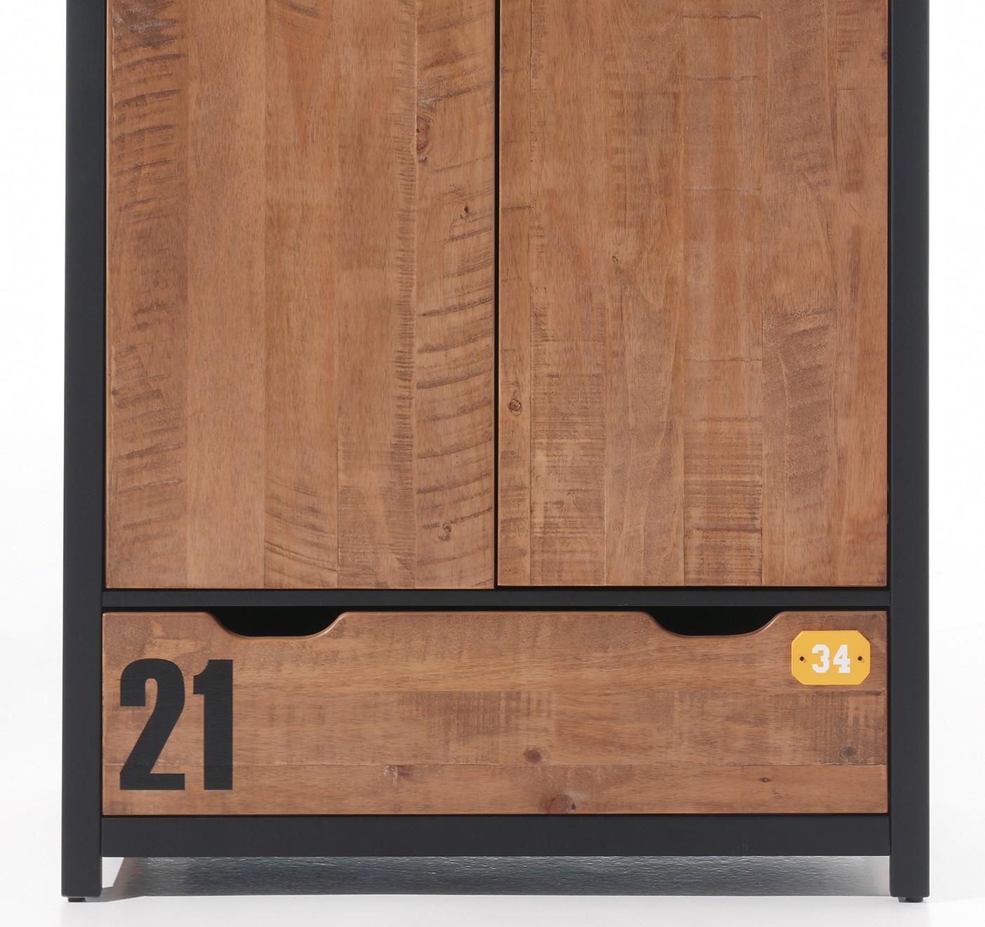 kleiderschrank alex 2 t rig kiefer cognacfarbig. Black Bedroom Furniture Sets. Home Design Ideas