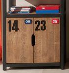 Regal ALEX - 4 Fächer und 2 Türen - Kiefer Cognacfarbig / Schwarz
