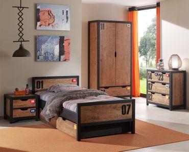 Jugendzimmer ALEX - komplett mit Einzelbett, Bettschublade, Kleiderschrank 2-türig, Nachtkonsole und Kommode