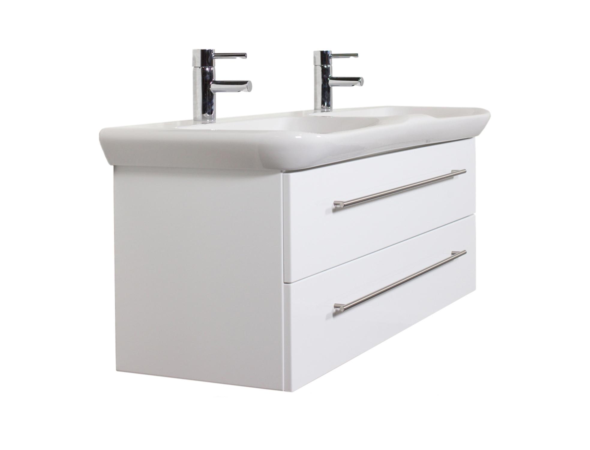 bad waschtisch mit keramag becken myday mit doppelbecken 130 cm breit wei bad waschtische. Black Bedroom Furniture Sets. Home Design Ideas