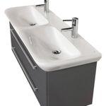 Bad-Waschtisch mit KERAMAG Becken myDay - Doppelbecken - 130 cm breit - Grau