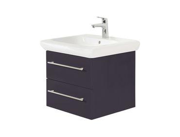 Bad-Waschtisch mit KERAMAG Becken it! - 2 Auszüge - 60 cm breit - Grau glänzend