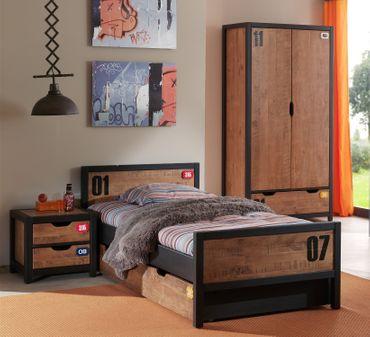 Jugendzimmer ALEX - komplett mit Einzelbett, Bettschublade, Kleiderschrank 2-türig und Nachtkonsole