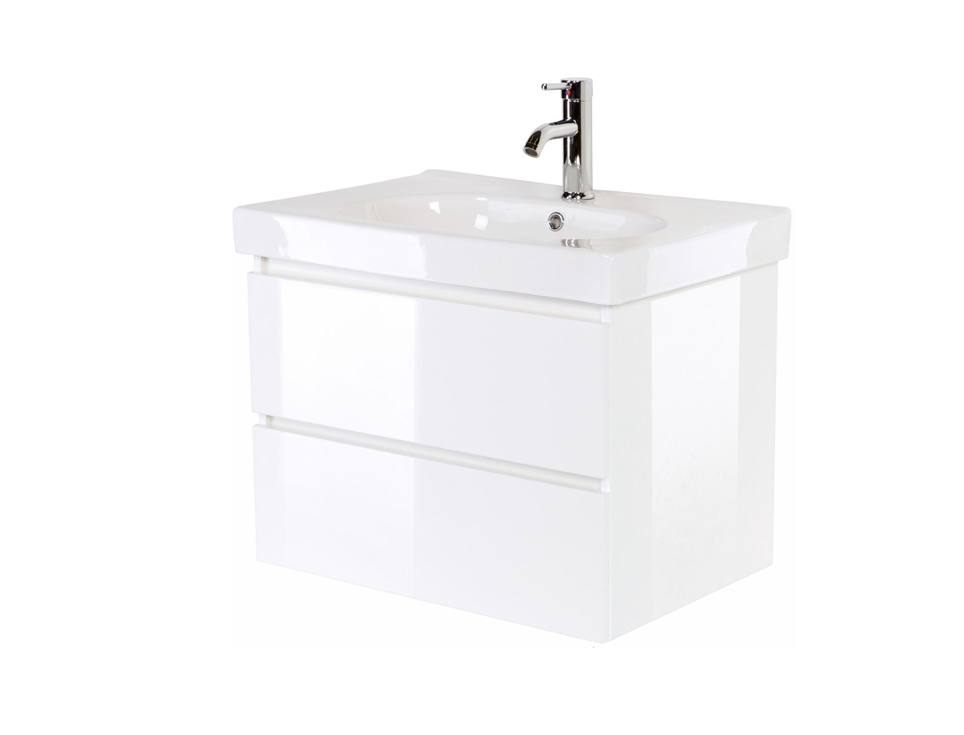 Waschbecken 55 cm aus weißer Keramik mit Waschtischunterschrank