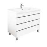 Bad-Waschtisch KILIA - 3 Auszüge - 91 cm breit - Hochglanz Weiß