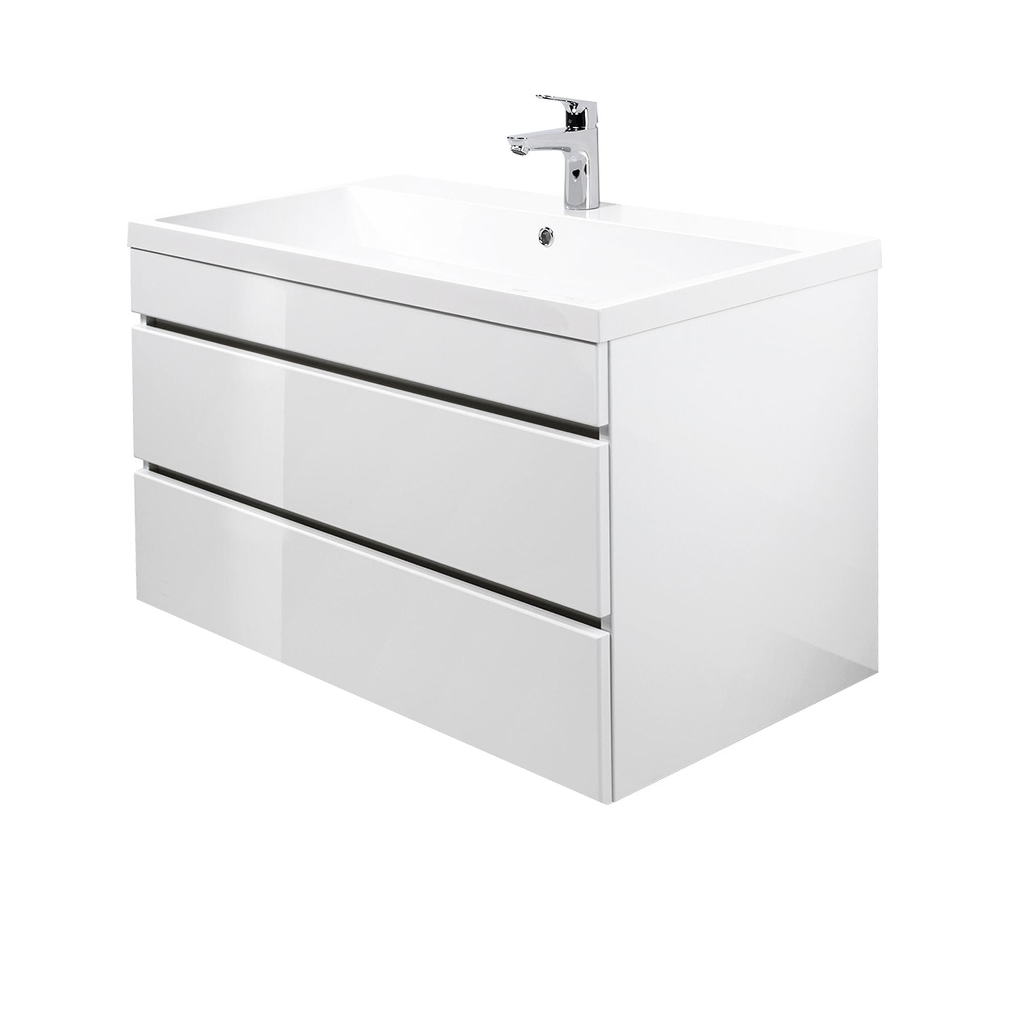 waschtisch unterschrank mit mineralgussbecken waschbeckenschrank hochglanz wei ebay. Black Bedroom Furniture Sets. Home Design Ideas