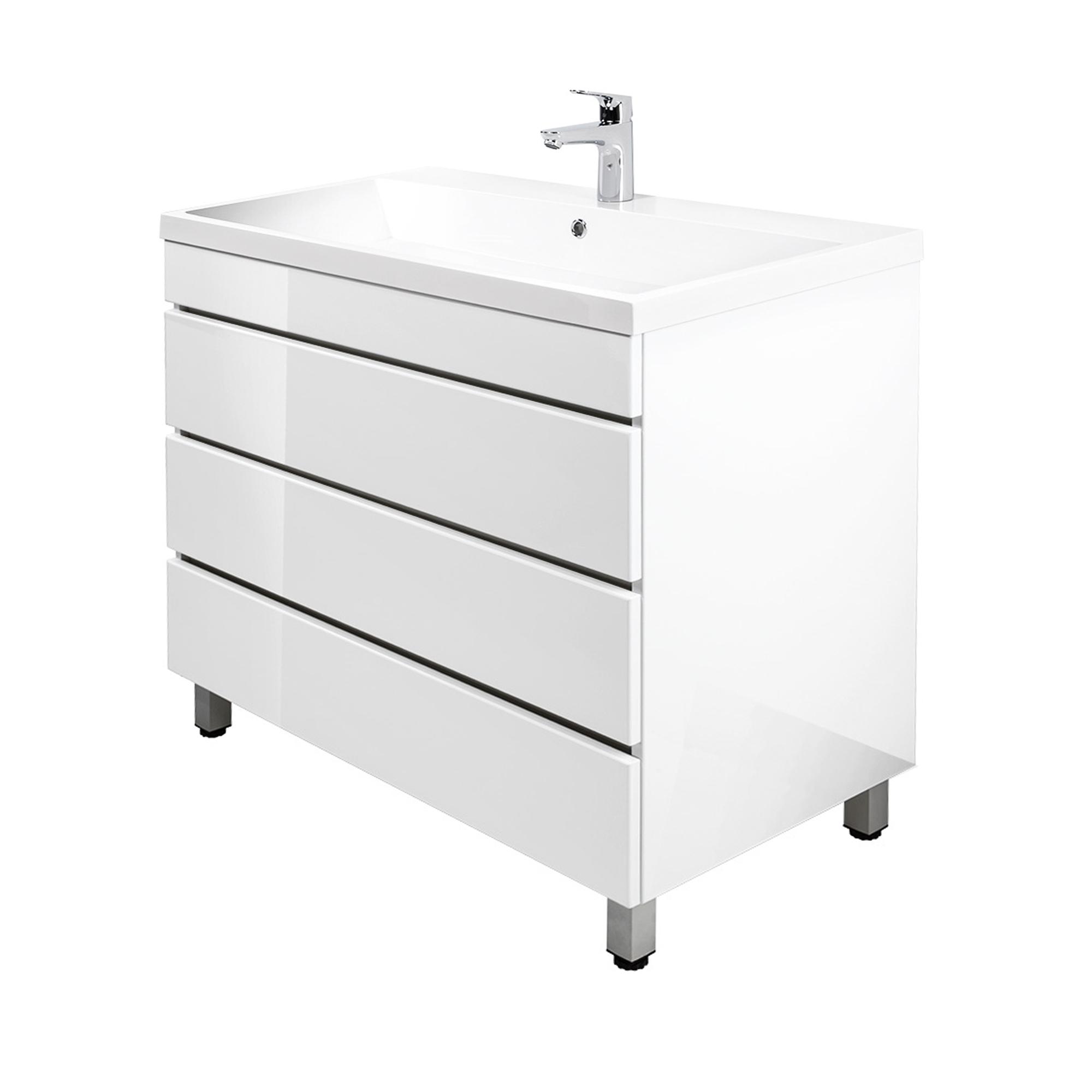 waschtischunterschrank mit waschbecken waschbeckenschrank 91 cm hochglanz weiss ebay. Black Bedroom Furniture Sets. Home Design Ideas