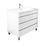 Bad-Waschtisch NANCY - 3 Auszüge - 91 cm breit - Hochglanz Weiß