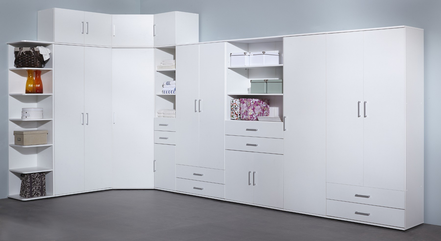 regalschrank ronny aufbewahrungsschrank mit t r schubladen f chern 40 cm weiss ebay. Black Bedroom Furniture Sets. Home Design Ideas