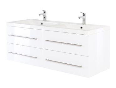 Bad-Waschtisch GALIA - 4 Auszüge - 144 cm breit - Hochglanz Weiß