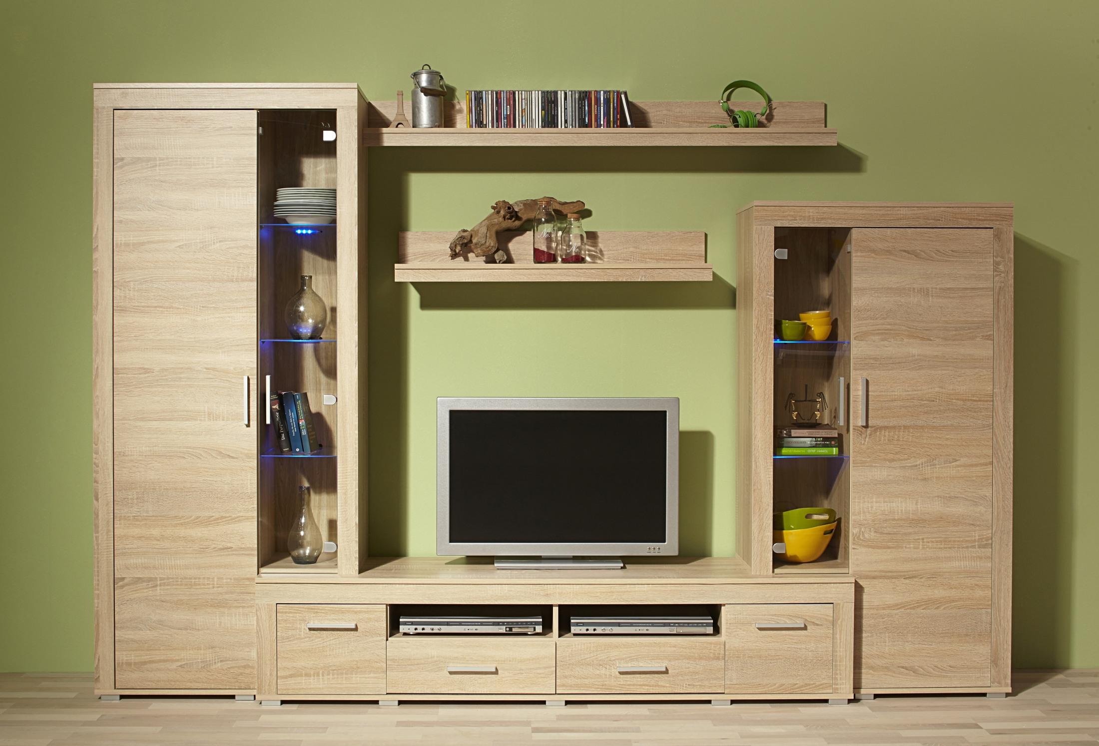 wohnwand malm fix 5 teilig 280 cm breit eiche sonoma wohnen wohnw nde. Black Bedroom Furniture Sets. Home Design Ideas