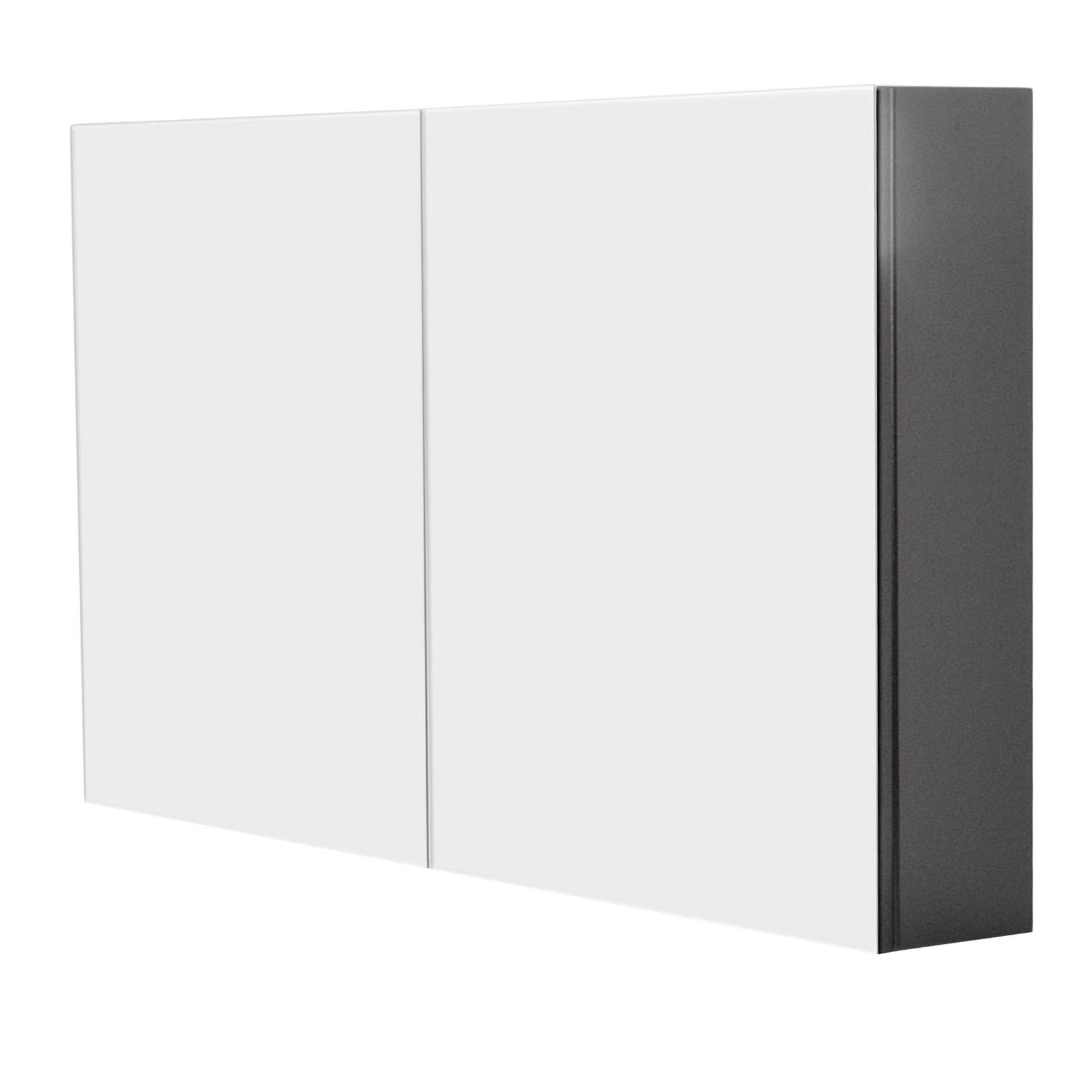 Bad spiegelschrank levia 2 t rig 100 cm breit grau for Spiegelschrank grau