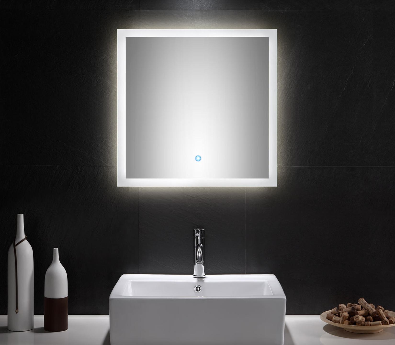 bad spiegel levia mit led touch steuerung 60 cm breit wei bad spiegelschr nke. Black Bedroom Furniture Sets. Home Design Ideas