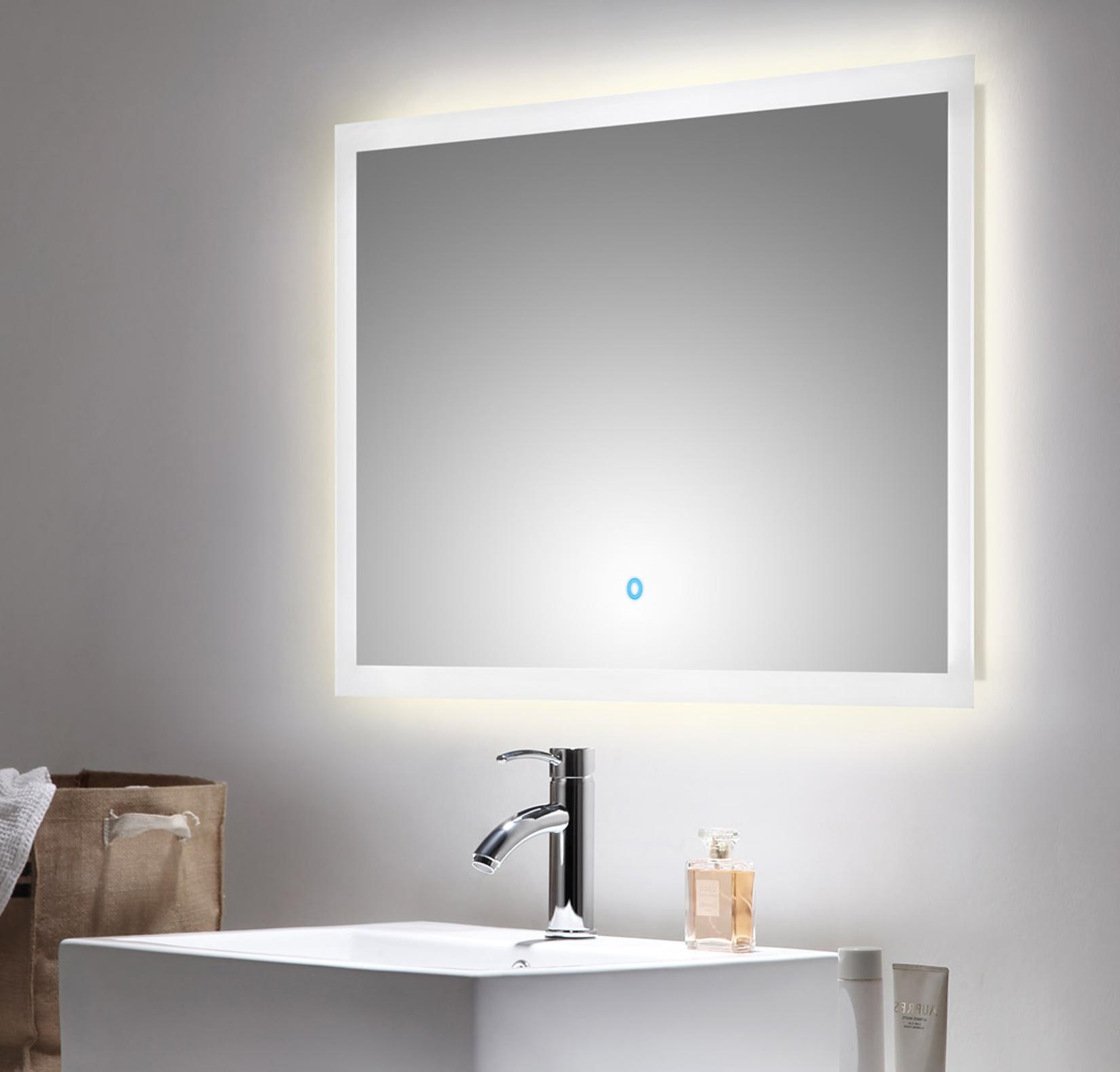 bad spiegel levia mit led touch steuerung 90 cm breit wei bad spiegelschr nke. Black Bedroom Furniture Sets. Home Design Ideas