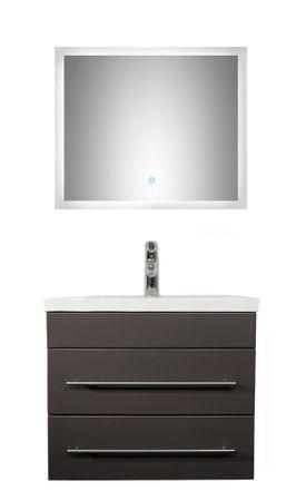 Badmöbel-Set LYON - mit Waschtisch - 3-teilig - 60 cm breit - Grau glänzend