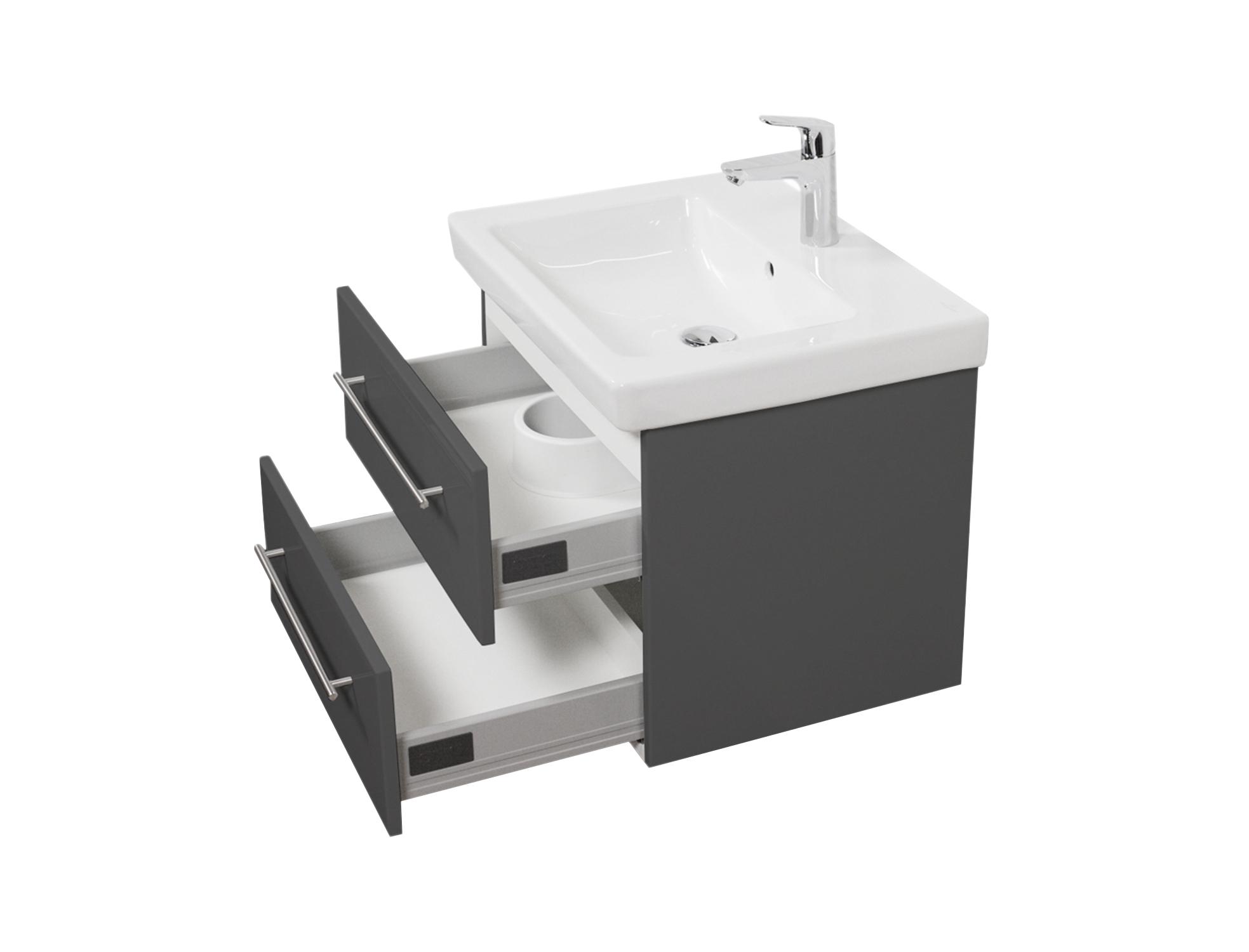 bad waschtisch mit villeroy boch becken subway 2 0 60 cm breit grau bad waschtische. Black Bedroom Furniture Sets. Home Design Ideas