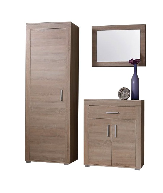 garderobenset lake 3 teilig mit kommode und spiegelpaneel 130 cm sonoma ebay. Black Bedroom Furniture Sets. Home Design Ideas