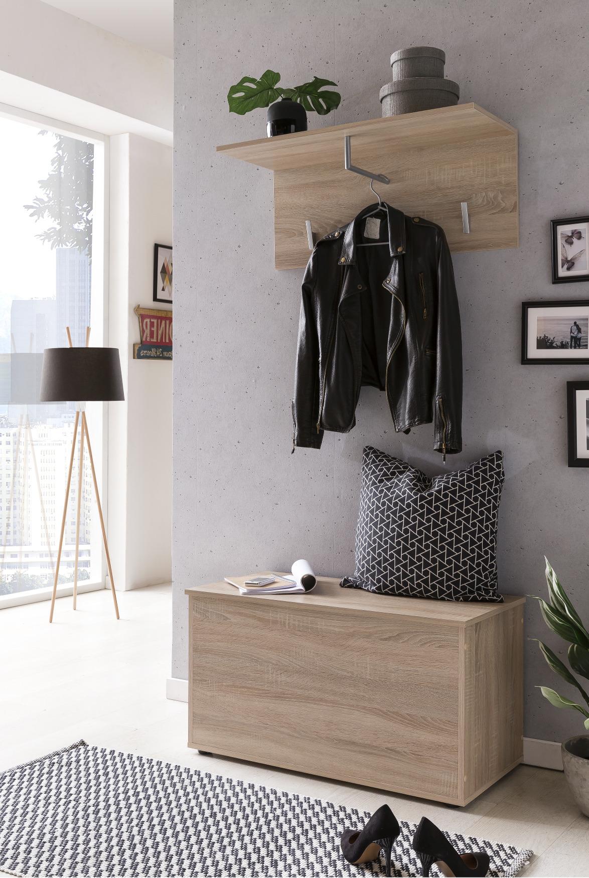garderobenset zoe 2 teilig 84 cm breit eiche sonoma. Black Bedroom Furniture Sets. Home Design Ideas