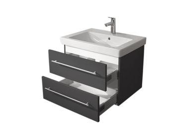 Bad-Waschtisch mit Villeroy & Boch Becken Subway 2.0 - 65 cm breit - Grau