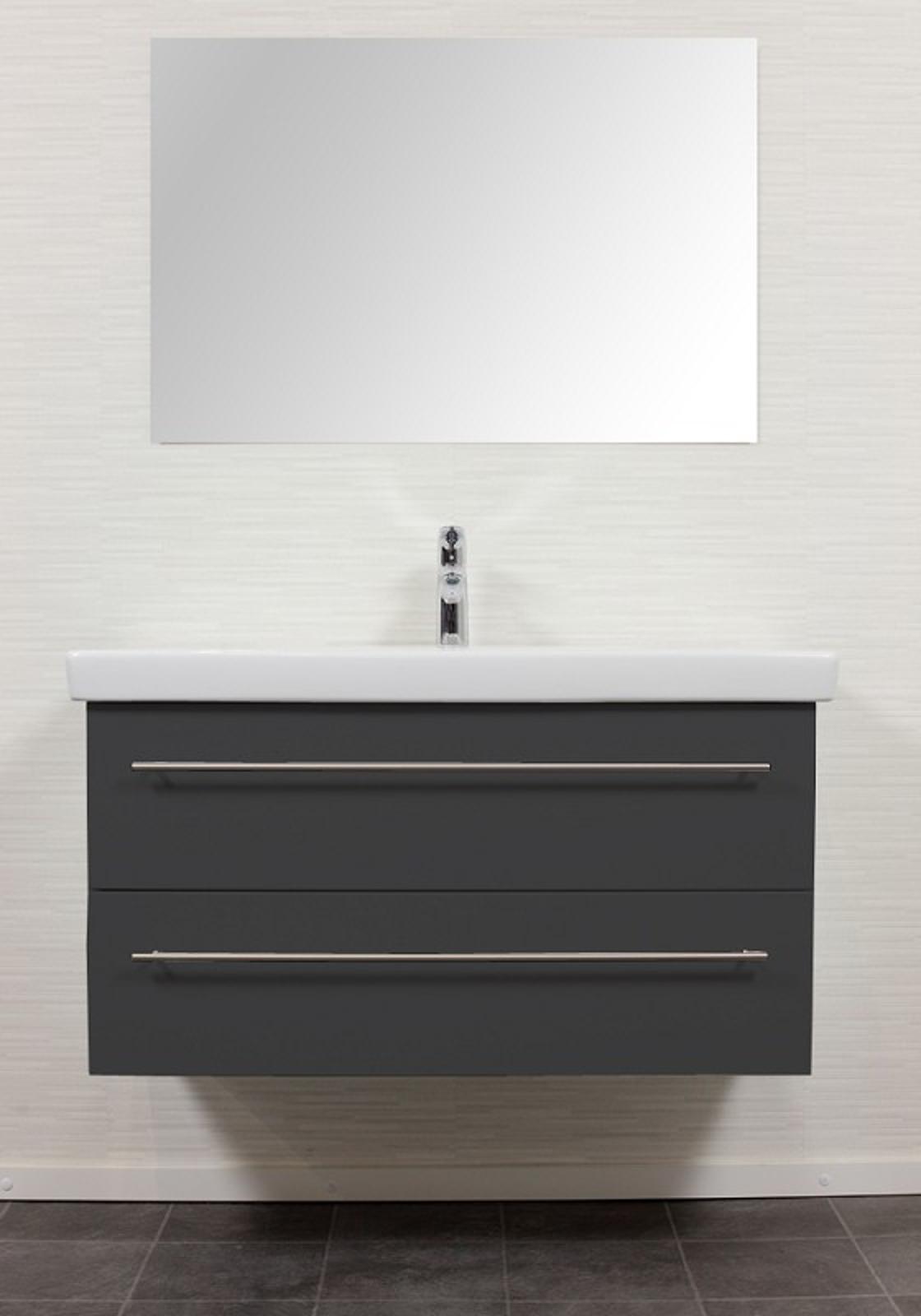 bad waschtisch mit villeroy boch becken subway 2 0 100 cm breit grau bad waschtische. Black Bedroom Furniture Sets. Home Design Ideas
