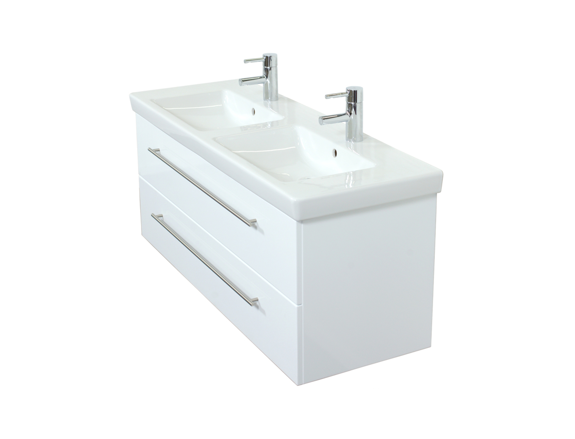 Bad-Waschtisch mit Villeroy & Boch Becken Subway 2.0 - 130 cm breit - Weiß