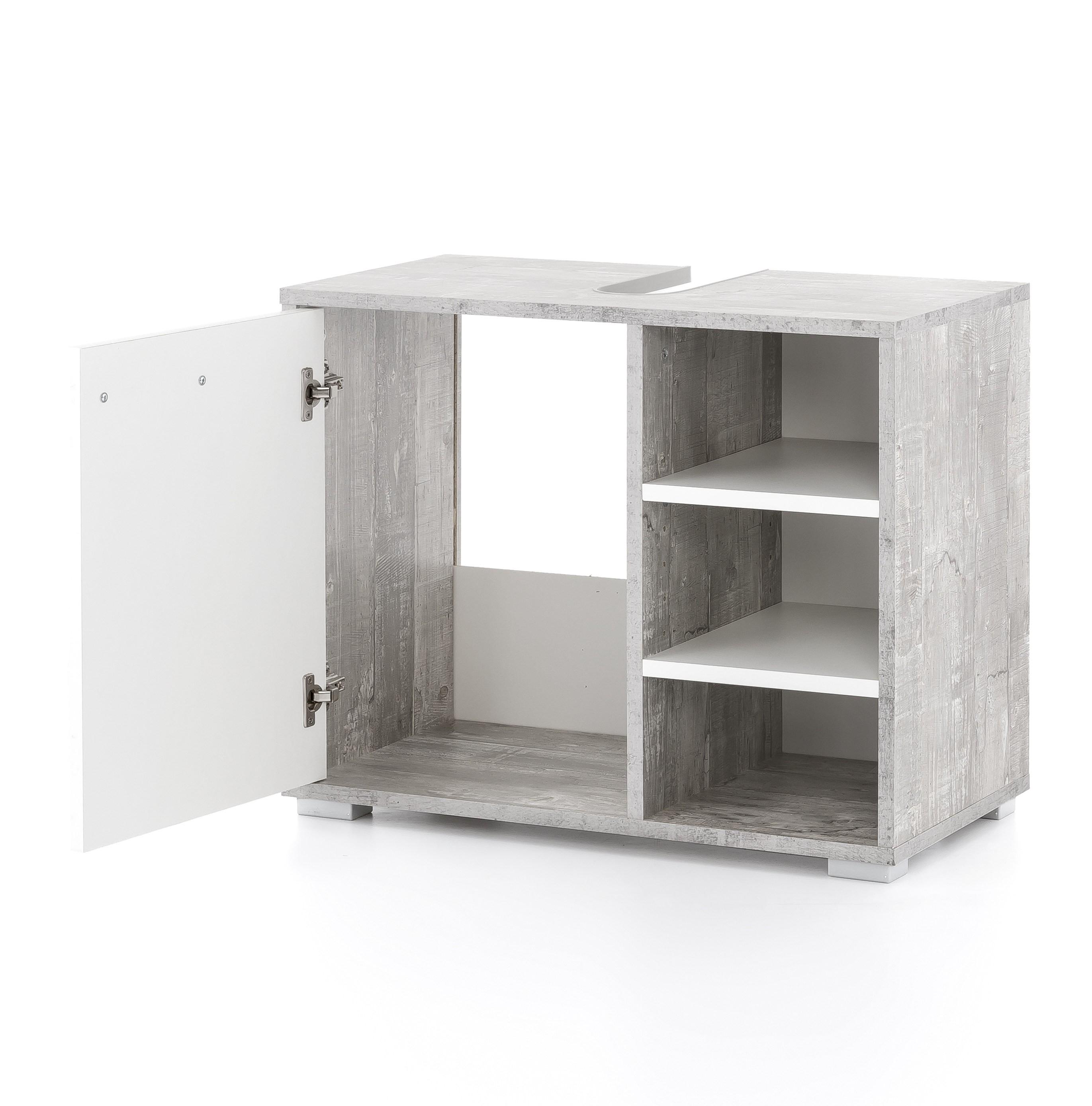 bad waschbeckenunterschrank lindau 60 cm breit wei beton grau bad waschbeckenunterschr nke. Black Bedroom Furniture Sets. Home Design Ideas