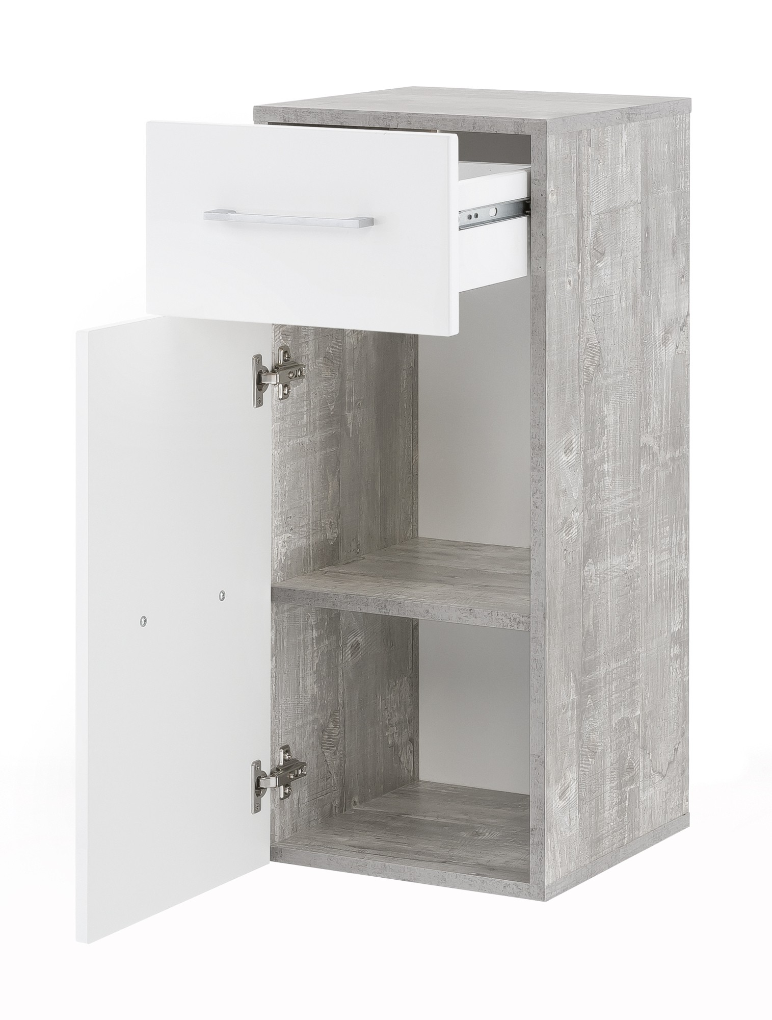 badezimmer badschrank ulm badm bel unterschrank t r schublade 30cm weiss beton ebay. Black Bedroom Furniture Sets. Home Design Ideas