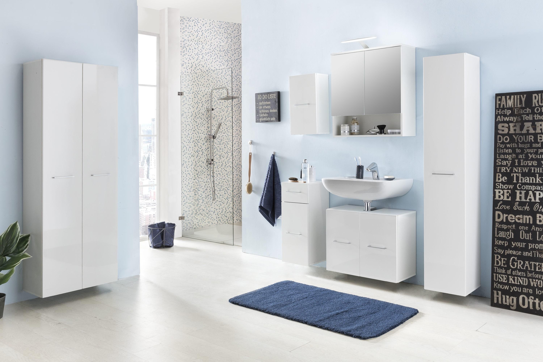 bad unterschrank ulm 1 t rig 1 schublade 30 cm breit hochglanz wei wei bad bad. Black Bedroom Furniture Sets. Home Design Ideas