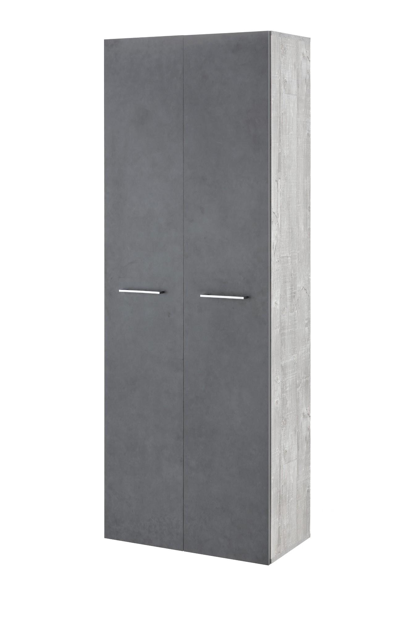 Bad-Hochschrank ULM - 2-türig, 5 Fächer - 60 cm breit - Graphit ...