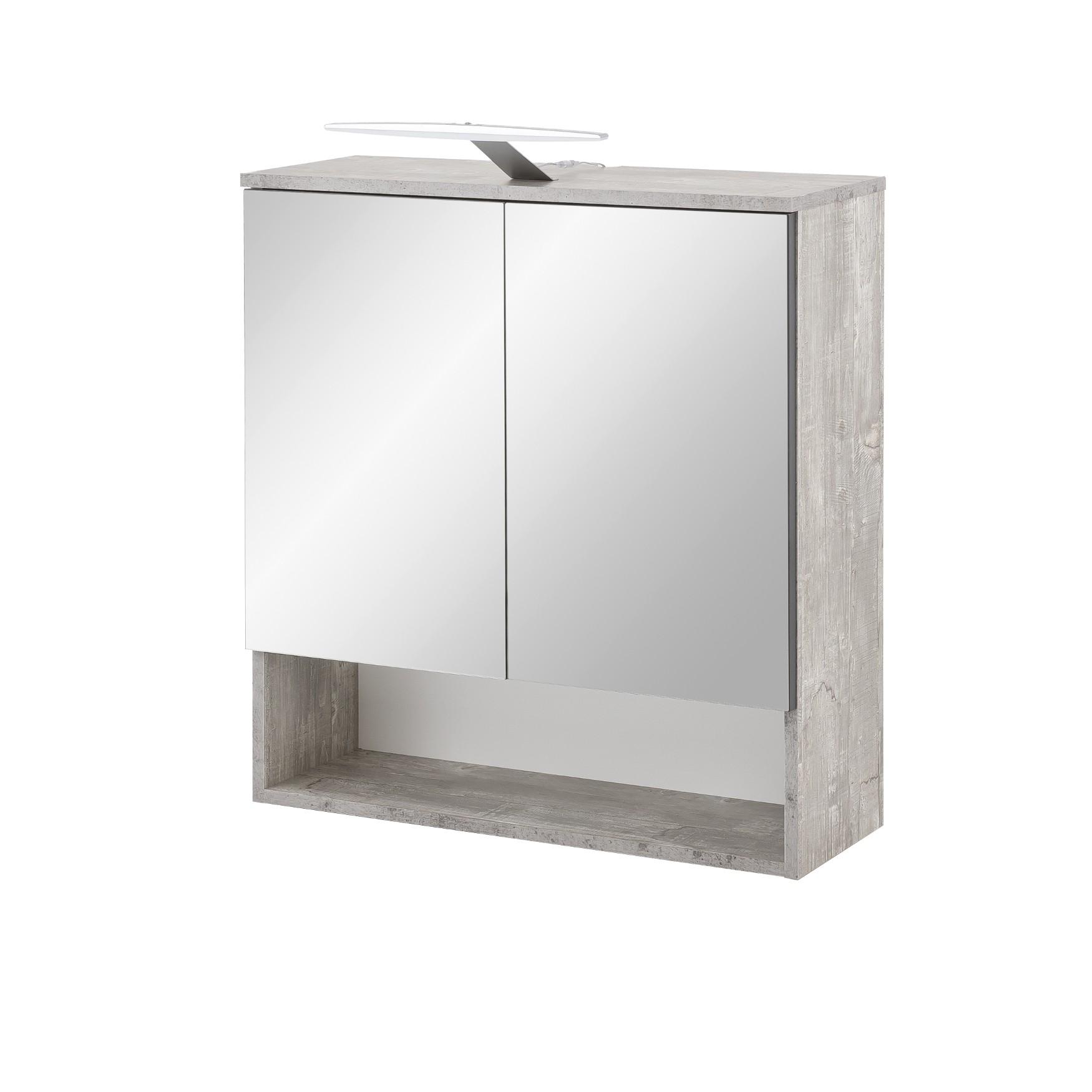 Bad-Spiegelschrank ULM - 2-türig, LED-Aufbauleuchte, 65 cm breit ...
