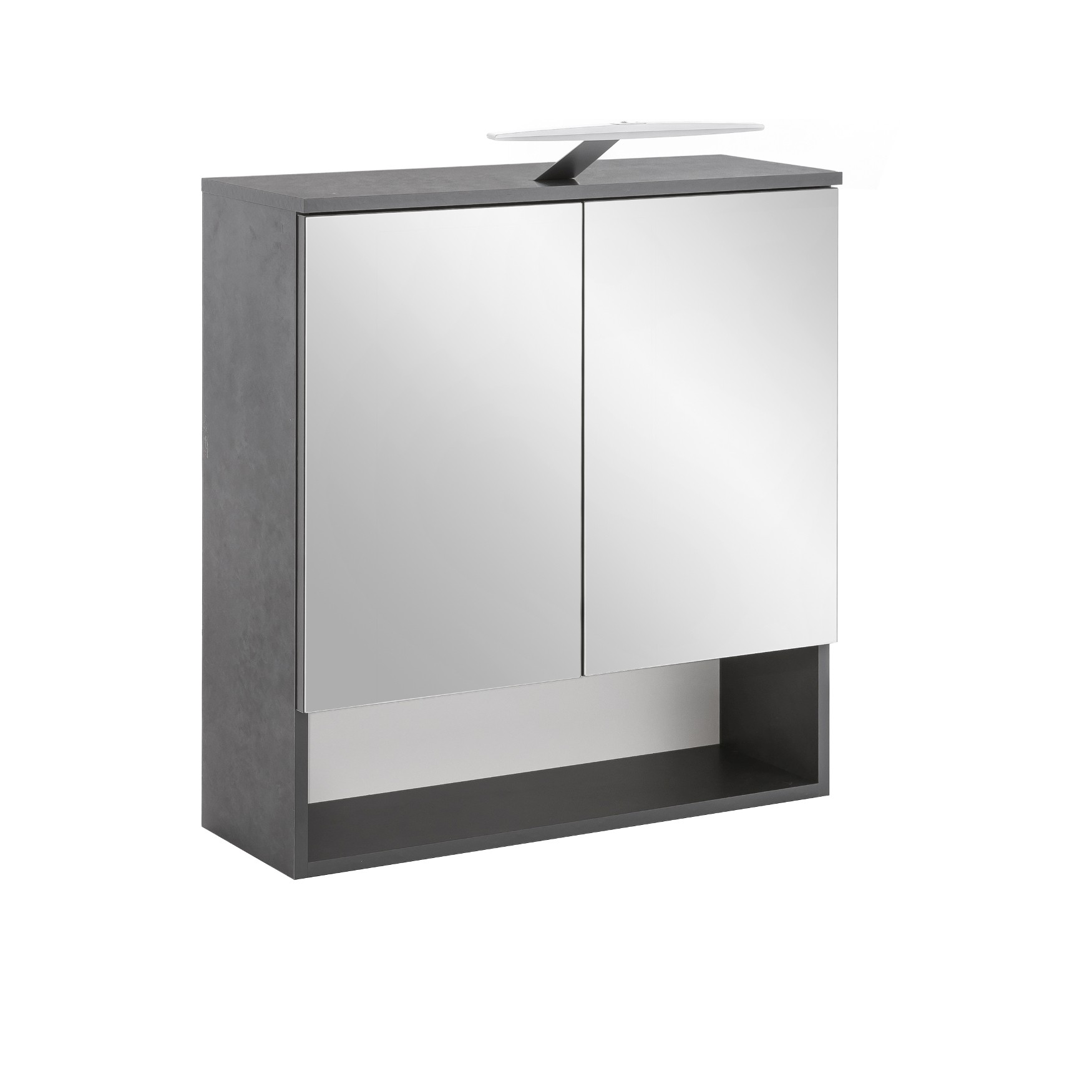 bad spiegelschrank 2 t rig mit led aufbauleuchte 65 cm. Black Bedroom Furniture Sets. Home Design Ideas