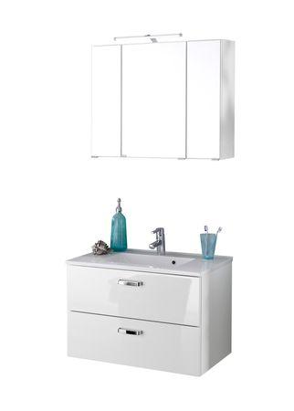 Badmöbel-Set BOLOGNA - Waschtisch mit Auszügen - 4-teilig - 80 cm breit - Weiß