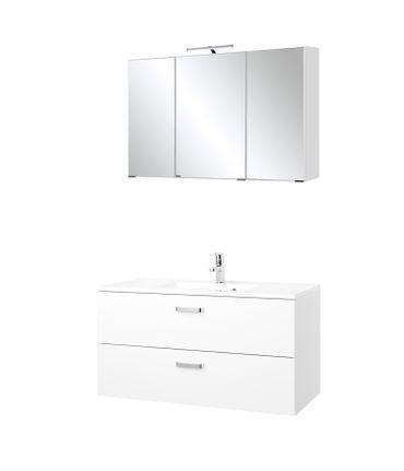 Badmöbel-Set BOLOGNA - Waschtisch mit Auszügen - 4-teilig - 100 cm breit - Weiß