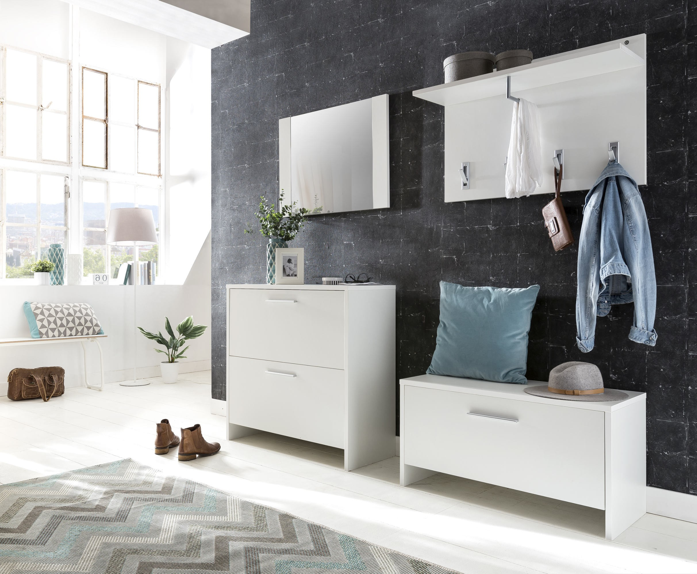 wandgarderobe bahia garderobe paneel flurgarderobe 90 cm weiss ebay. Black Bedroom Furniture Sets. Home Design Ideas