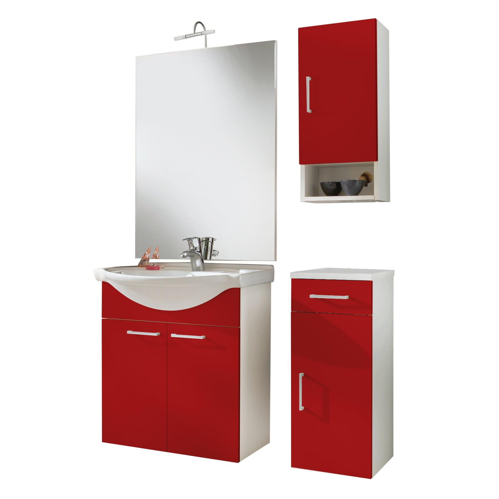 badmobel rot, badmöbel-set adelano - mit waschplatz - 6-teilig - 97 cm breit - rot, Design ideen