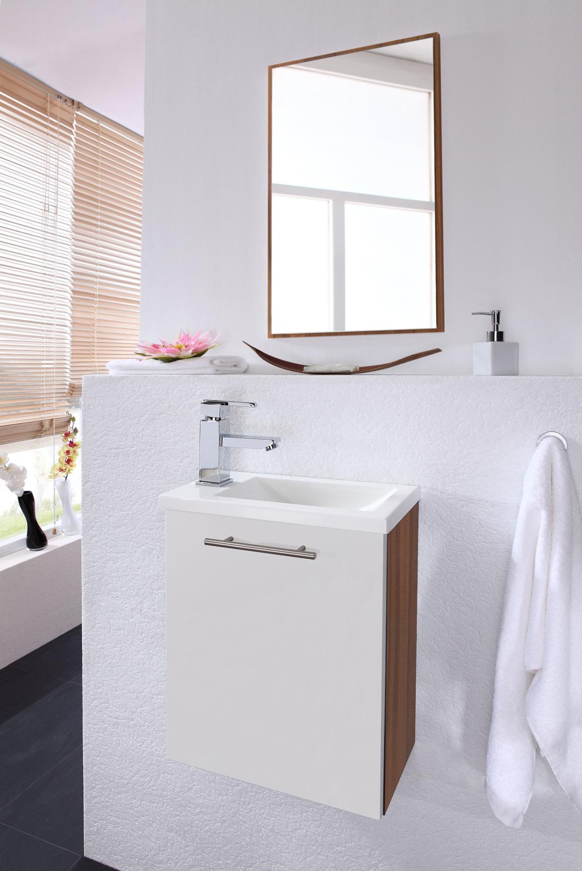 waschbecken g ste wc waschtisch und spiegelpaneel. Black Bedroom Furniture Sets. Home Design Ideas