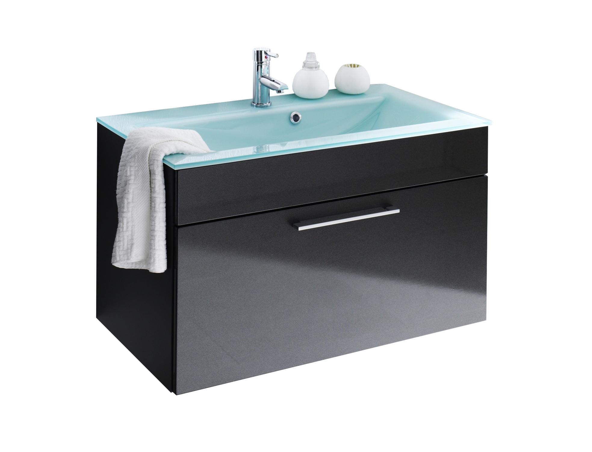 bad waschtisch hera mit glaswaschbecken aquamarin 90 cm breit anthrazit bad waschtische. Black Bedroom Furniture Sets. Home Design Ideas