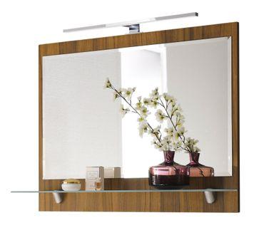 Bad-Spiegel - mit Ablage und LED-Lampe - 90 cm breit - Walnuss