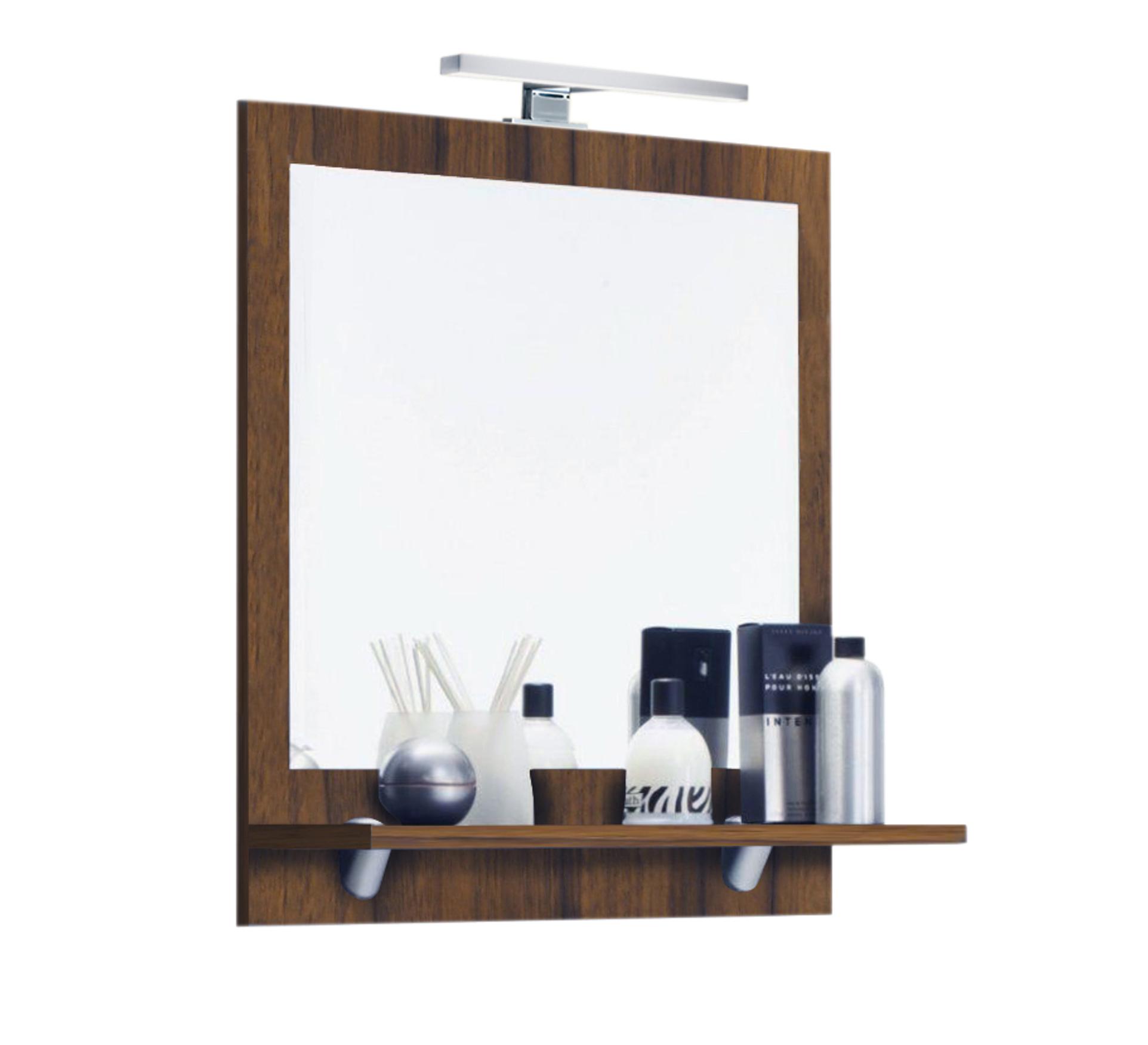 Bad spiegel mit ablage und led lampe 60 cm breit for Spiegel id
