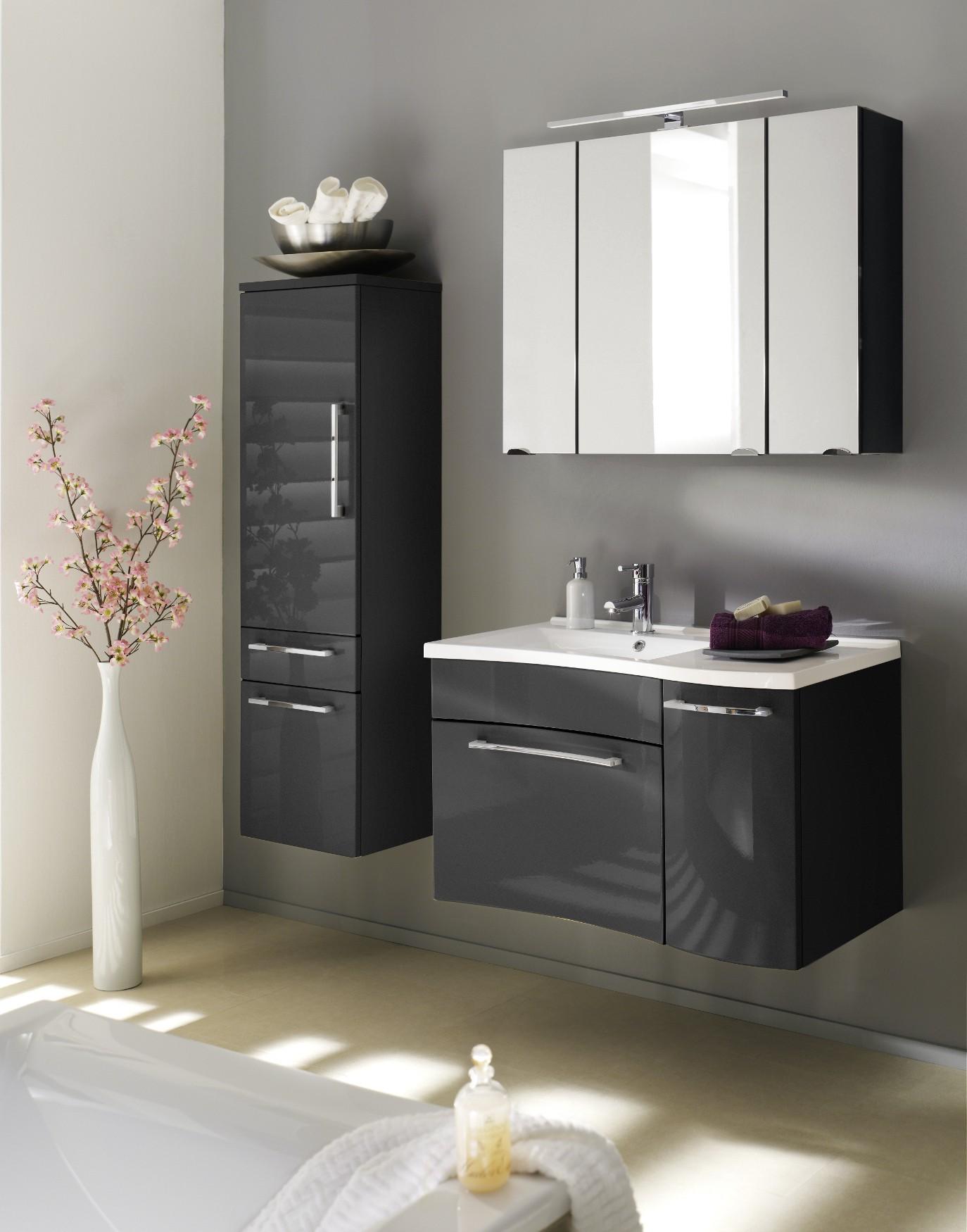 Badmöbel-Set LAONDA - mit Spiegelschrank - 5-teilig - 130 cm breit ...