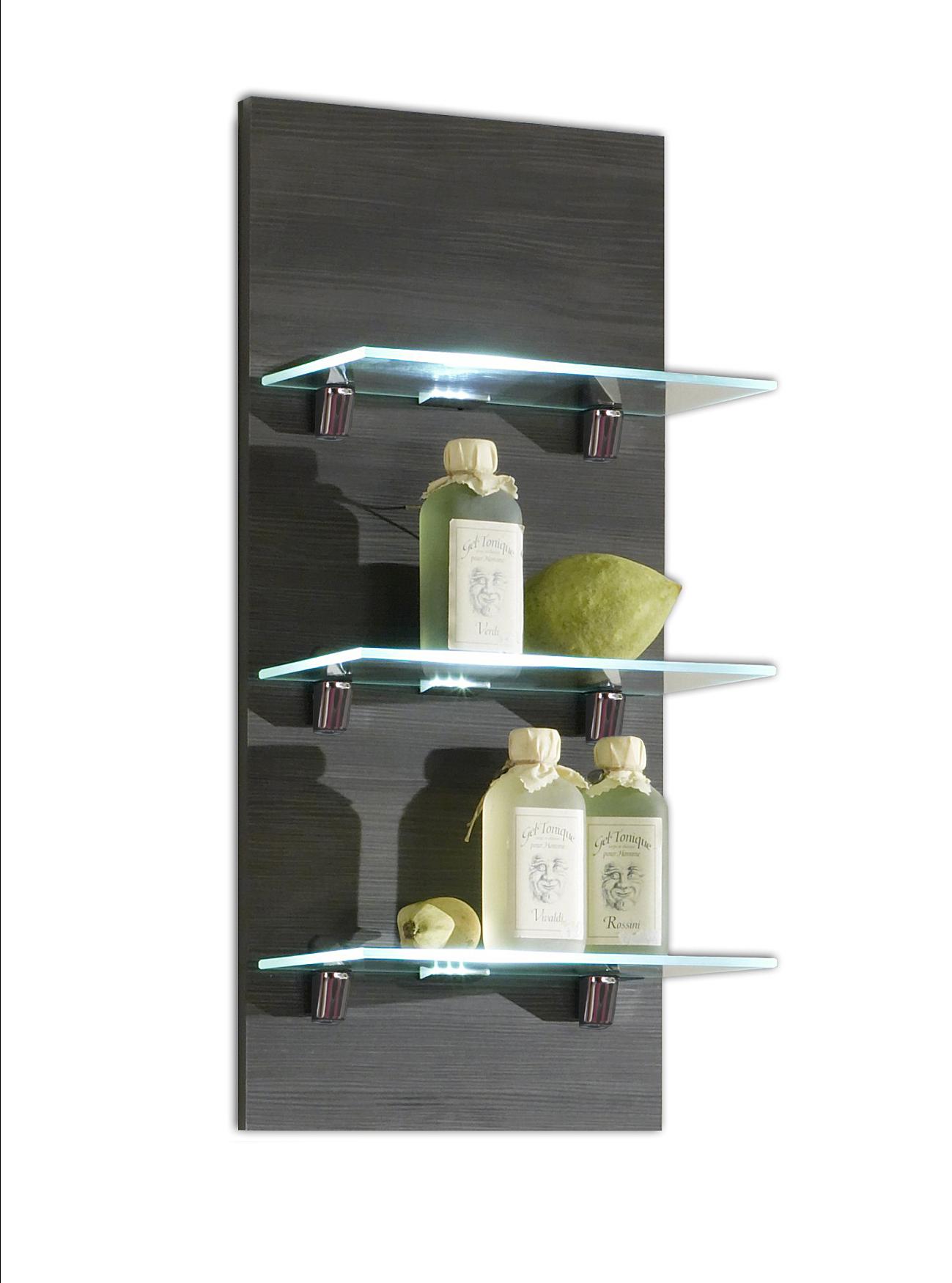 wandregal marano badezimmer regal 3 ablagefl chen mit led beleuchtung 30 cm grau ebay. Black Bedroom Furniture Sets. Home Design Ideas