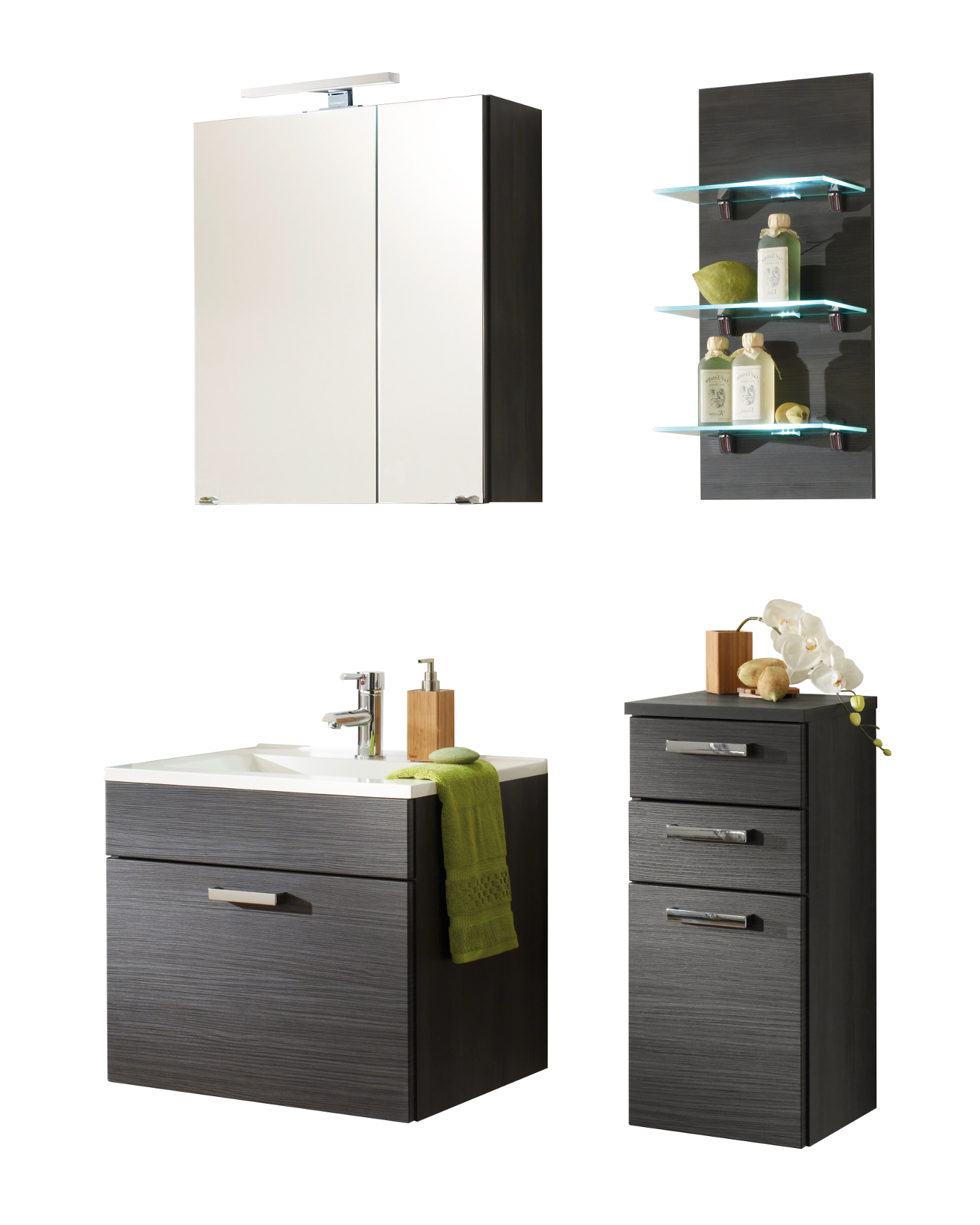 badm bel set marano mit spiegelschrank 6 teilig 90 cm breit grau bad badm belsets. Black Bedroom Furniture Sets. Home Design Ideas