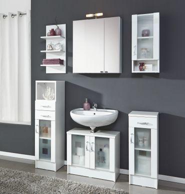 Badmöbel-Set NIZZA - mit Spiegelschrank - 7-teilig - 120 cm breit - Weiß