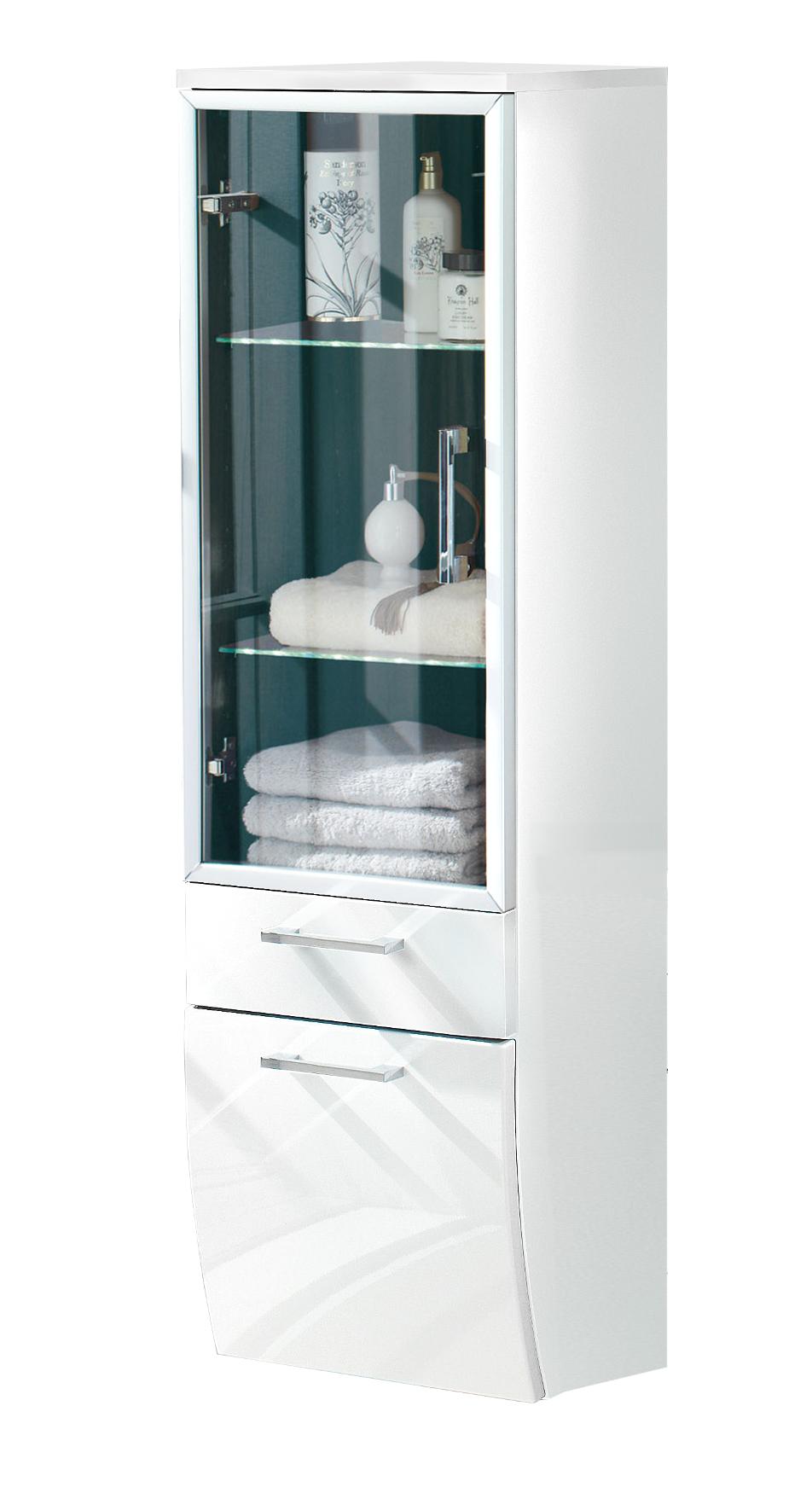 Details zu Badezimmer Midischrank RIMA Aufbewahrungsschrank Badschrank  Glastür 40 cm weiss