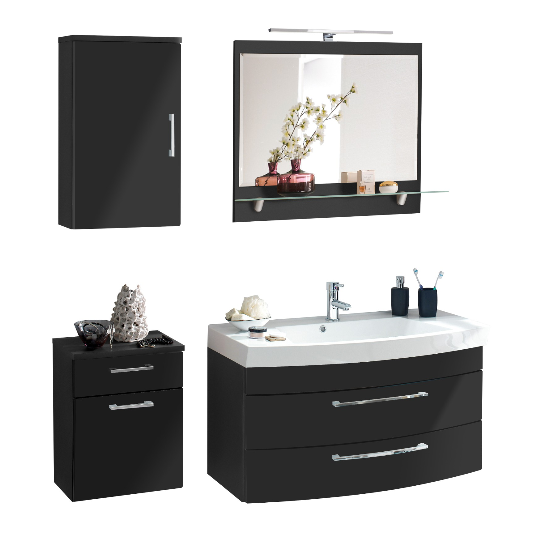 badm bel set rima mit spiegelpaneel 6 teilig 140 cm breit grau bad badm belsets. Black Bedroom Furniture Sets. Home Design Ideas