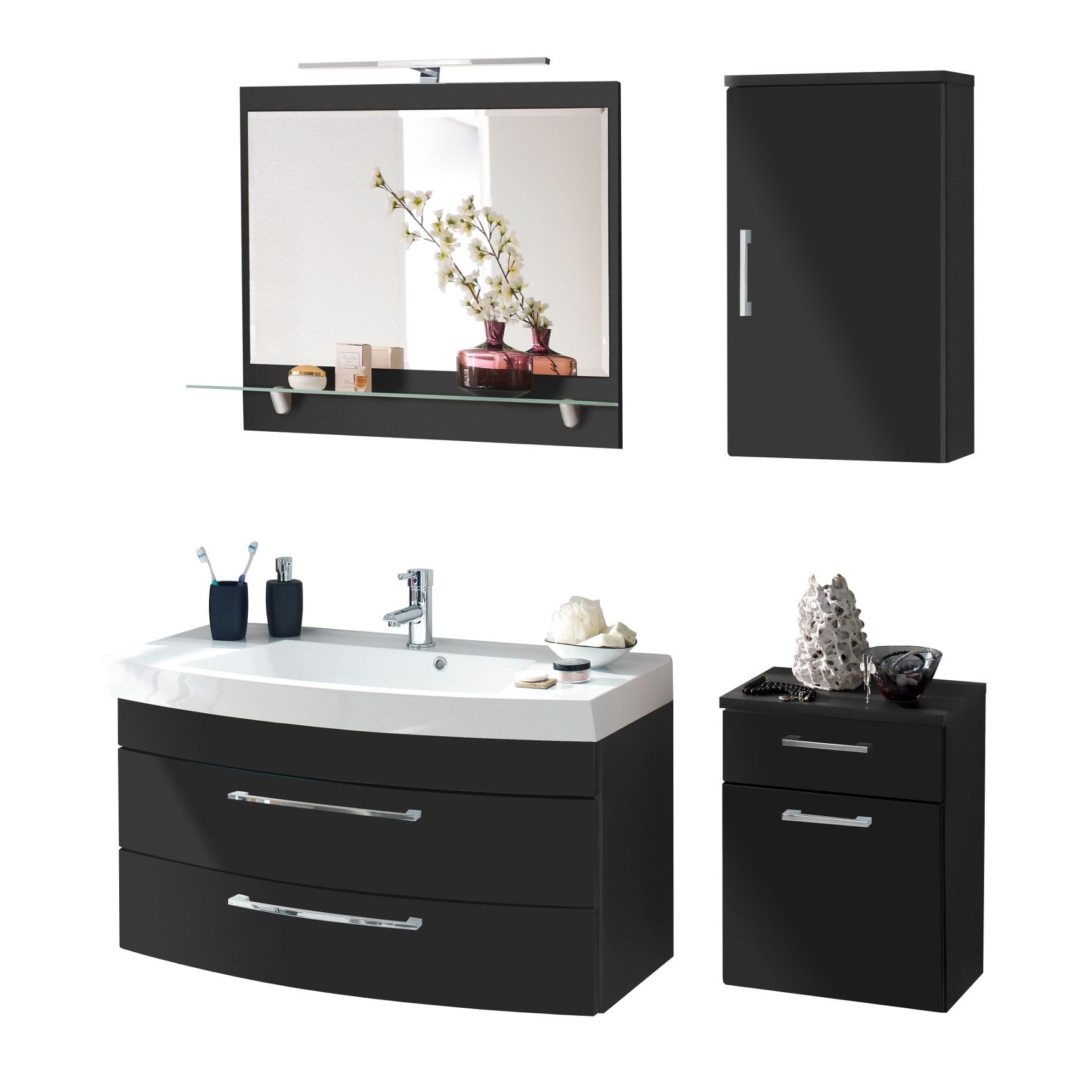 Badmöbel-Set RIMA - mit Spiegelpaneel - 6-teilig - 140 cm breit ...