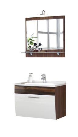Badmöbel-Set SALONA - mit Spiegel - 4-teilig - 70 cm breit - Weiß / Walnuss