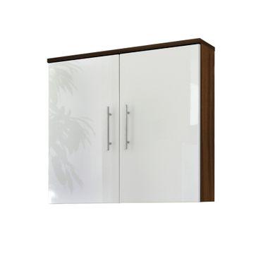 Bad-Hängeschrank SALONA - 2-türig - 70 cm breit - Weiß / Walnuss