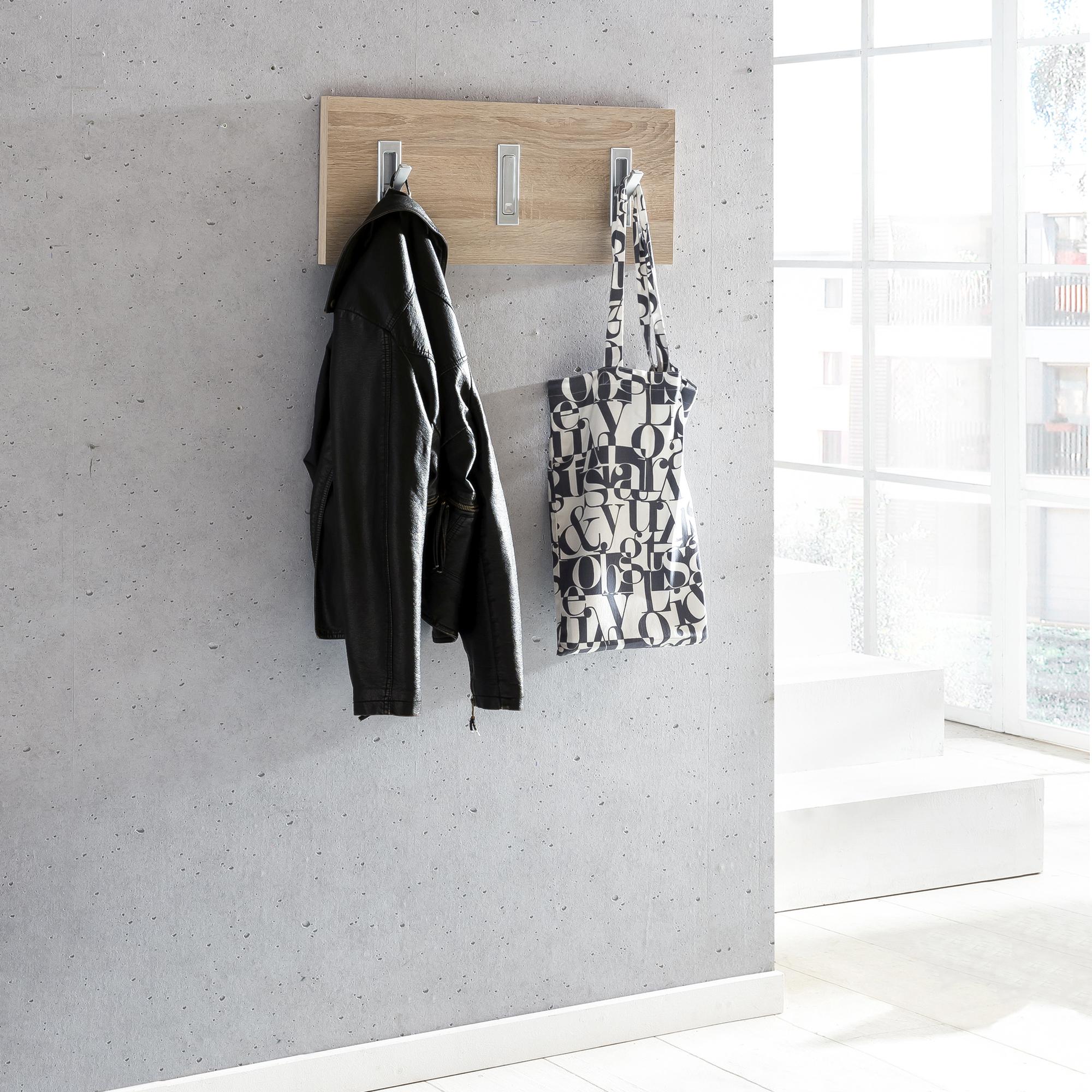 garderobenpaneel harry 3 haken 60 cm breit eiche. Black Bedroom Furniture Sets. Home Design Ideas